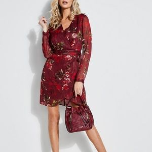 Guess CAMILLA FLORAL SURPLICE DRESS